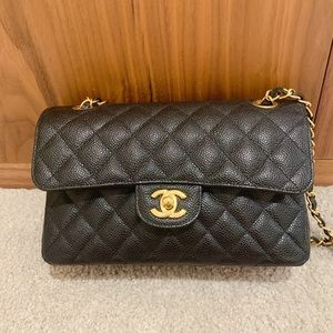 Chanel black caviar medium double flap bag